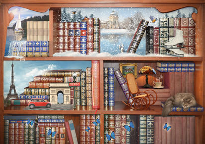 The magical world of books. Concept graphic. Photomanipulation.